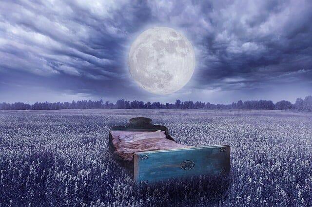 rzeczywistość senna - łóżko na łące, księżyc w pełni